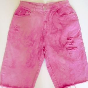 Pants - Denim Shorts High-Waisted Size 10 Pink Distressed